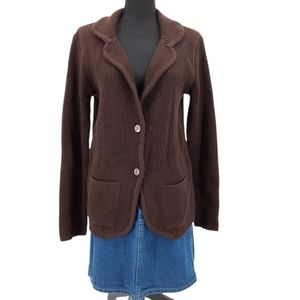 VTG 60s Sears Dark Brown Ribbed Acrylic Cardigan Sweater Size S